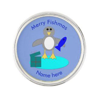 Frohe Weihnacht-Fischenpenguin-Revers-Button Anstecknadel
