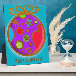 Frohe Weihnacht-Flitter-buntes lila Rot Fotoplatte