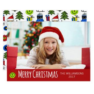 Frohe Weihnacht-Foto-wunderliche Verzierungen Karte