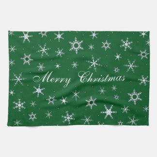 Frohe Weihnacht-Grün-Schneeflocken Handtuch