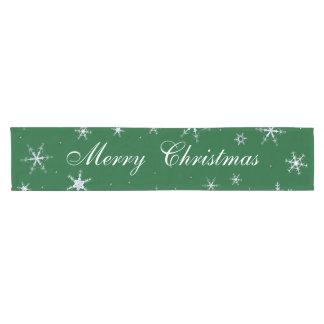 Frohe Weihnacht-Grün-Schneeflocken Kurzer Tischläufer