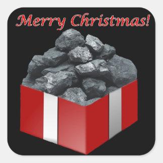 Frohe Weihnacht-Kohlen-Geschenk Quadrat-Aufkleber