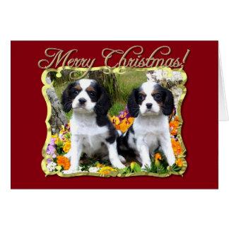Frohe Weihnacht-Königcharles Spanielwelpen Karte