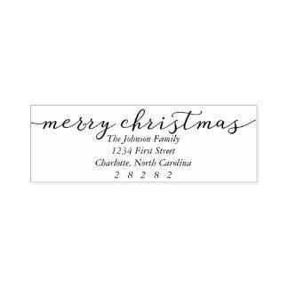 Frohe Weihnacht-personalisierte Feiertags-Adresse Permastempel