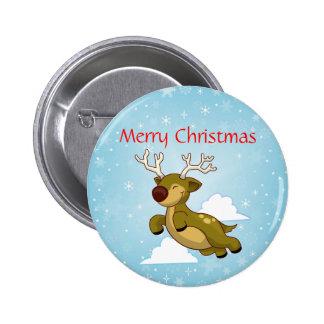 Frohe Weihnacht-Ren Runder Button 5,7 Cm