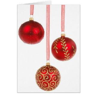 Frohe Weihnacht-Rot-Verzierungen Karte