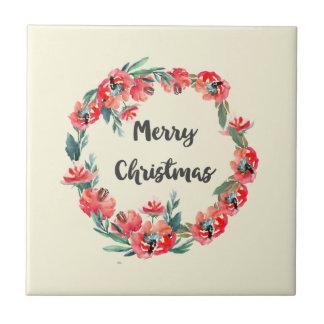 Frohe Weihnacht-roter BlumenAquarell-Kranz Keramikfliese