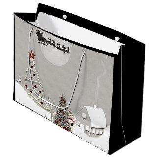 Frohe Weihnacht-Sankt-Szene Große Geschenktüte