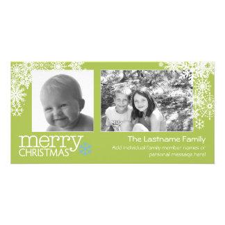 Frohe Weihnacht-Schneeflocken - 2 Fotos - Personalisierte Photo Karte