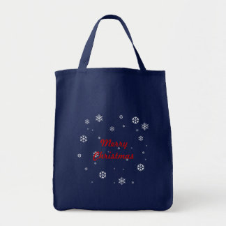 Frohe Weihnacht-Schneeflocken Tragetasche