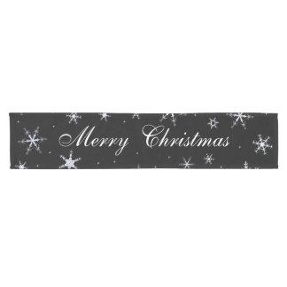 Frohe Weihnacht-Schwarz-Schneeflocken Kurzer Tischläufer