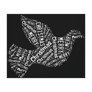 Frohe Weihnacht-Taube, weiß auf Schwarzem, Galerie Gefaltete Leinwand