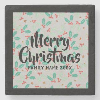 Frohe Weihnacht-Typografie-Weihnachtsstechpalme Steinuntersetzer