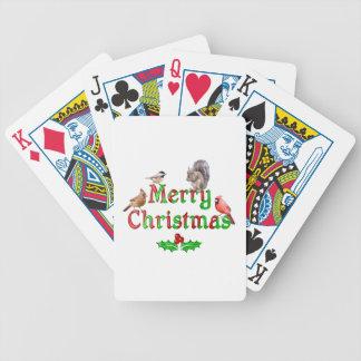 Frohe Weihnacht-Vögel und Eichhörnchen Bicycle Spielkarten