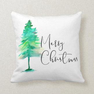 Frohe Weihnachten, Aquarell Pinetree, Skript Kissen