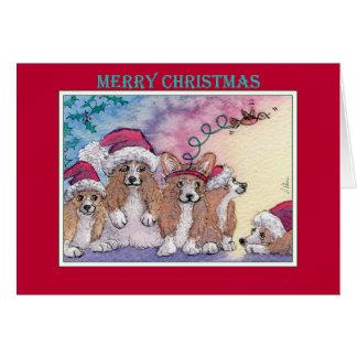 Frohe Weihnachten, Corgihunde in den Karte