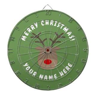 Frohe Weihnachten Dartboard mit Rudolf das Ren Dartscheibe
