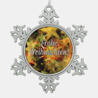 Frohe Weihnachten! Frohe Weihnachten im deutschen Schneeflocken Zinn-Ornament