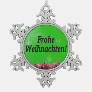 Frohe Weihnachten! Frohe Weihnachten in deutschem Schneeflocken Zinn-Ornament