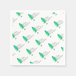 Frohe Weihnachten, Grün, Aquarell-pinetree Serviette