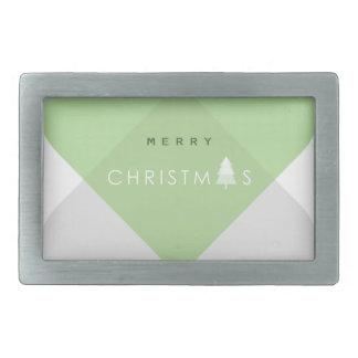 Frohe Weihnachten - Grün Rechteckige Gürtelschnalle