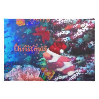 Frohe Weihnachten im Aquarium Tischset