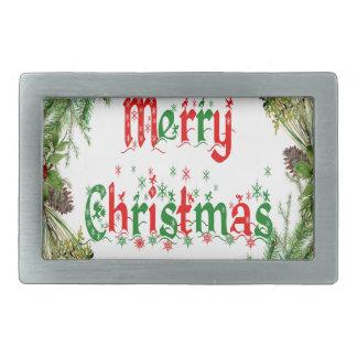 Frohe Weihnachten Rechteckige Gürtelschnalle