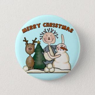 Frohe Weihnachten Runder Button 5,1 Cm