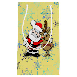 Frohe Weihnachten Sankt u. Rudy - Geschenktasche Kleine Geschenktüte