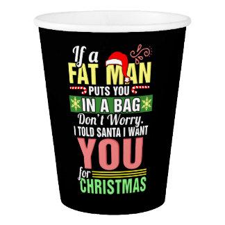 Frohe Weihnachten und Weihnachtsmann Pappbecher