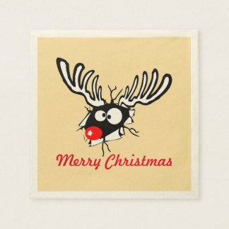 Frohe Weihnachten! Verrücktes rotes gerochenes Ren Papierserviette
