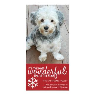 Frohe Weihnachten - vertikaler roter Foto-Gruß Fotokarte