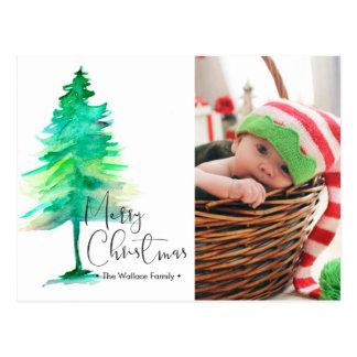 Frohe Weihnachten, Watercolor Pinetree, Foto Postkarte