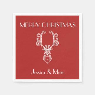 FROHE WEIHNACHTEN Weihnachtsrotes u. weißes Ren Papierservietten
