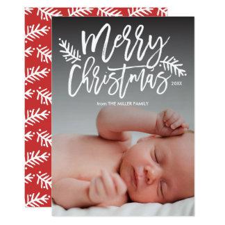 Frohe Weihnachtenchic-Handmit buchstaben 12,7 X 17,8 Cm Einladungskarte