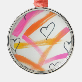 Frohes Herz Rundes Silberfarbenes Ornament