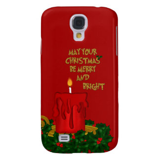 Fröhliche helle Weihnachtskerze, Rot-Galaxie s4 Galaxy S4 Hülle