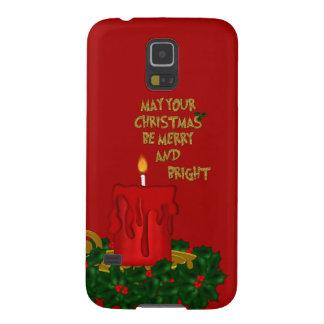 Fröhliche helle Weihnachtskerze, Rot-Galaxie s5 Samsung Galaxy S5 Hülle