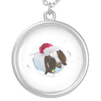 Fröhliche Land-Weihnachtsziege mit Versilberte Kette