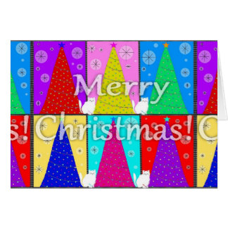 Fröhliche Miezekatze-Weihnachtskarte Karte