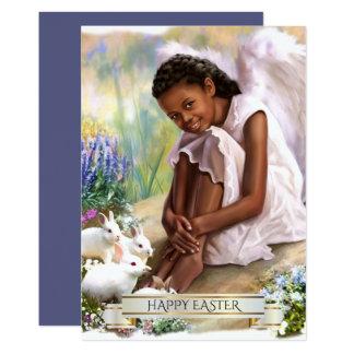 Fröhliche Ostern. Engelchen mit Häschen-flachen Karte