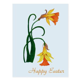 Fröhliche Ostern, Jonquil, Osterlilien-Blume Postkarte