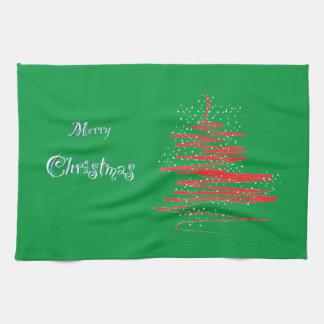 Fröhliche Weihnachtsbaum-Schneeflocken Küchenhandtücher