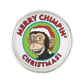 Fröhlicher Chimpin Weihnachtsgruß Anstecknadel