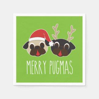Fröhlicher Pugmas Weihnachtssankt-Mops-Ren-Mops Servietten