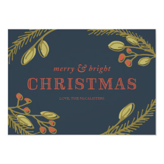 Fröhlicher und heller Weihnachtsgruß 12,7 X 17,8 Cm Einladungskarte