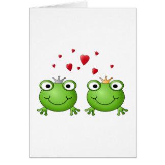 Frosch-Prinz und Frosch-Prinzessin, mit Herzen Karte