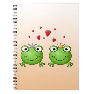 Frosch-Prinz und Frosch-Prinzessin, mit Herzen Spiralblöcke