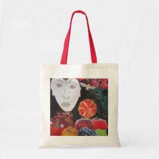 Frucht-Tasche, Orange, Apfel, Trauben, Gesicht Tragetasche