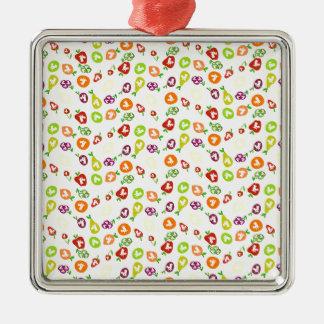 Fruchtige Einhörner Quadratisches Silberfarbenes Ornament